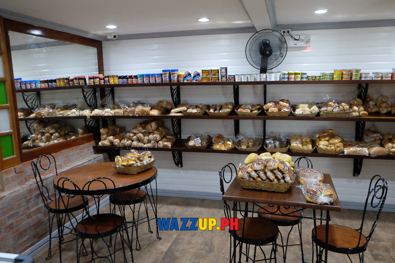 Shelves of bakery products