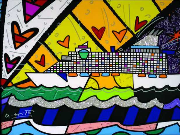 """One of Romero Britto's paintings called """"Happy happy times"""""""