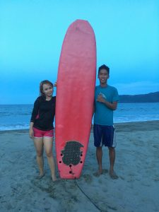 With Mr. Aldrin Iglesia, my surfing trainer from Freedom Surf School.