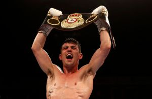 WBA Lightweight Champion, Anthony Crolla celebrates victory over Ismael Barroso. Photo Reuters