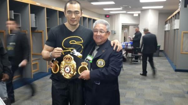 Photo: Beibut Shumenov receives WBA Super Belt