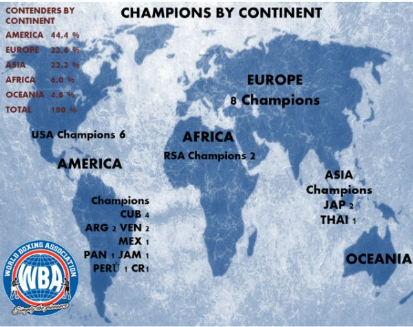 WBA Champions and Contenders Map