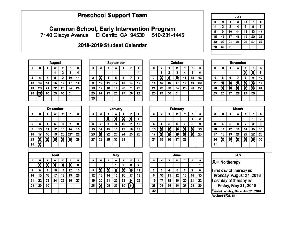 Cameron School / Calendar