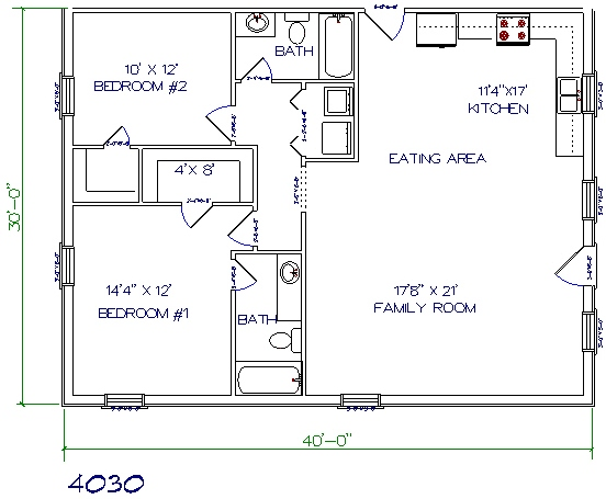 Home 28 x 40 3 Bed, 2 Bath, 1066 sq ft  Little House on The