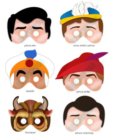 Disney Princess Party Printable Mask Collection - Disney Princes