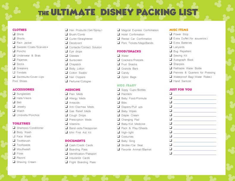 FREE Disney Packing List \u2022 WDW Vacation Tips - packing list