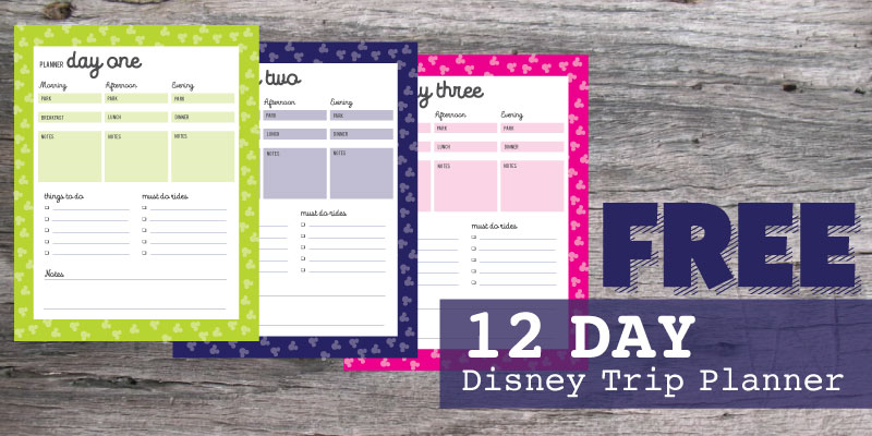 FREE Printable Disney Daily Vacation Planner \u2022 WDW Vacation Tips