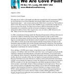Cove Point QRA sign on letter