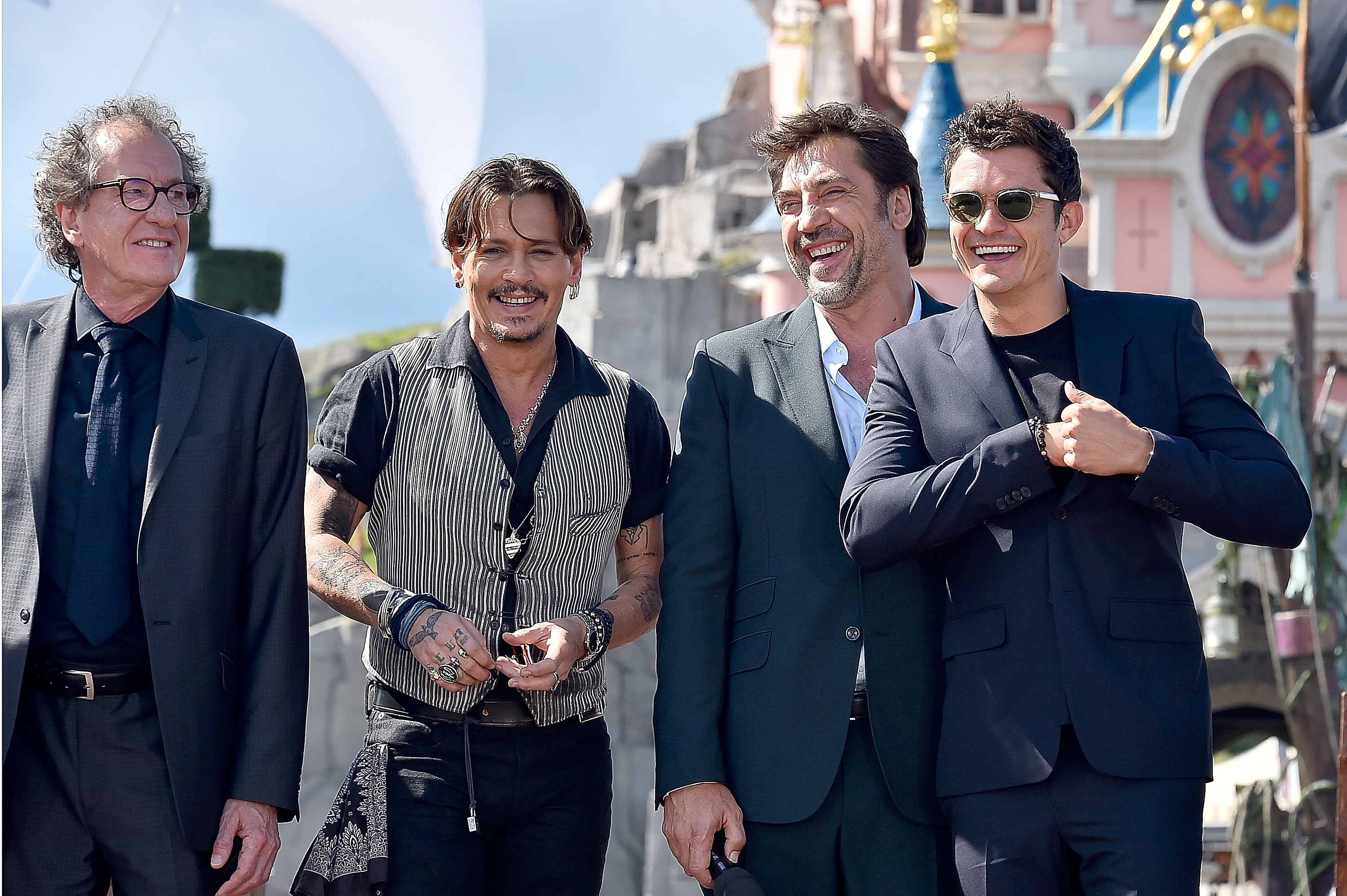 Geoffrey Rush Johnny Depp Javier Bardem and Orlando Bloom