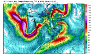 A very strong jet stream now extends across nearly the entire North Pacific Ocean. (NCEP via Levi Cowan)