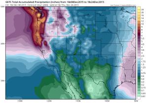 GFS ensemble mean precipitation forecasts for the next 2 weeks are quite respectable. (NCEP via tropicaltidbits.com)