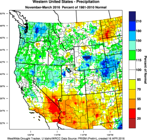 The Desert Southwest was unexpectedly dry this winter, and the Pacific Northwest unexpectedly wet. (West Wide Drought Tracker)