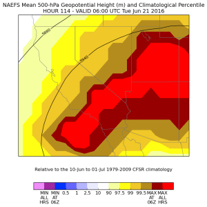 The magnitude of the Southwestern ridge will be unprecedented for mid-June. (NAEFS via NCEP)