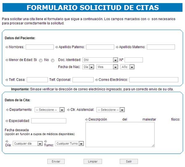 ESSALUD Solicitud y Consulta de Cita de Atención Médica por Internet