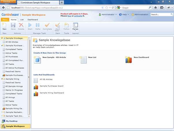 Default Comindware tracker tab