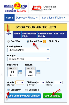 Find chaep flight tickets on MakeMyTrip