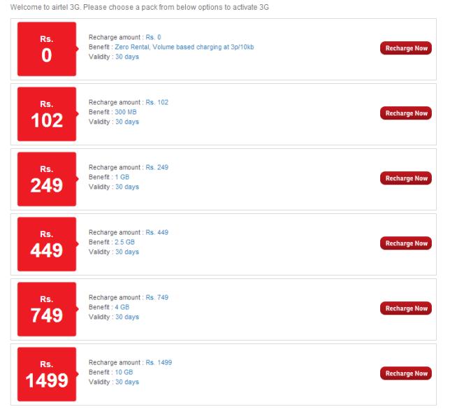 Airtel 3G Tariff