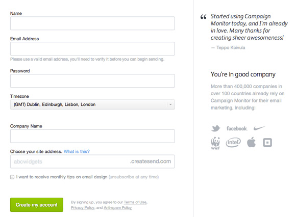 Examples of Thoughtfully Designed Sign Up Pages Web Resources