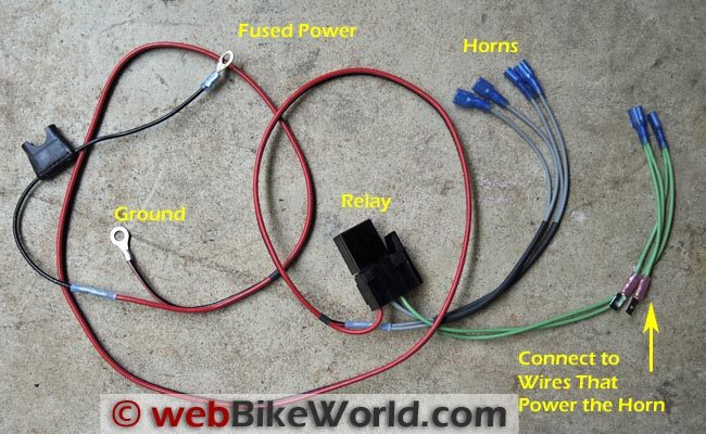 Dual Horn Relay Wiring Harness - webBikeWorld
