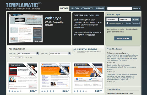 10 Places to Sell Templates Webdesigner Depot