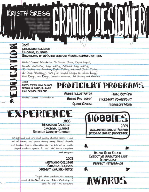 30 Artistic and Creative Résumés Webdesigner Depot - Resume Examples Graphic Design