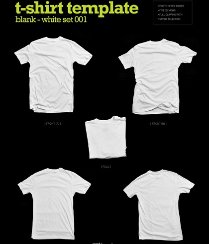 T Shirt Template Blank-white Set Graphics All Free Web Resources