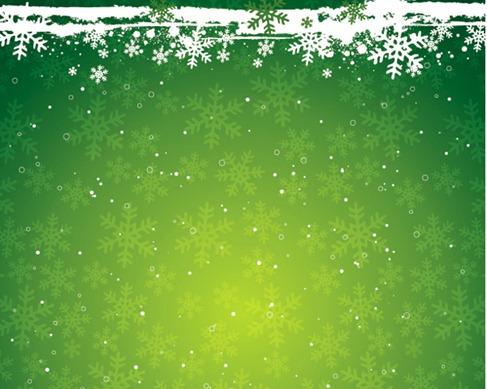 Green Snowflake the Christmas Theme Vector Background Material - christmas theme background