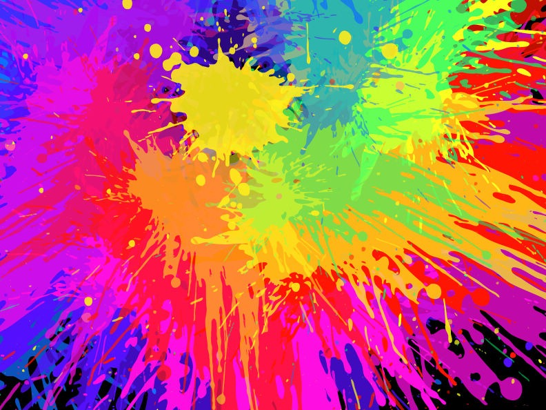 Colourful Bright Ink Splat Design Vector Free Vector Graphics