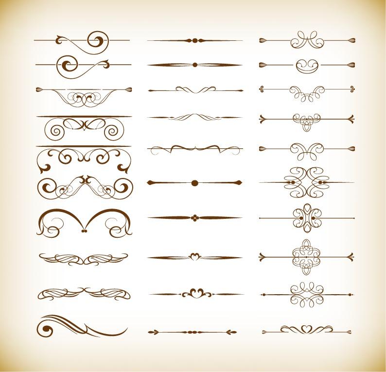Vector Set of Calligraphic Design Decor Elements Free Vector - calligraphy designs templates