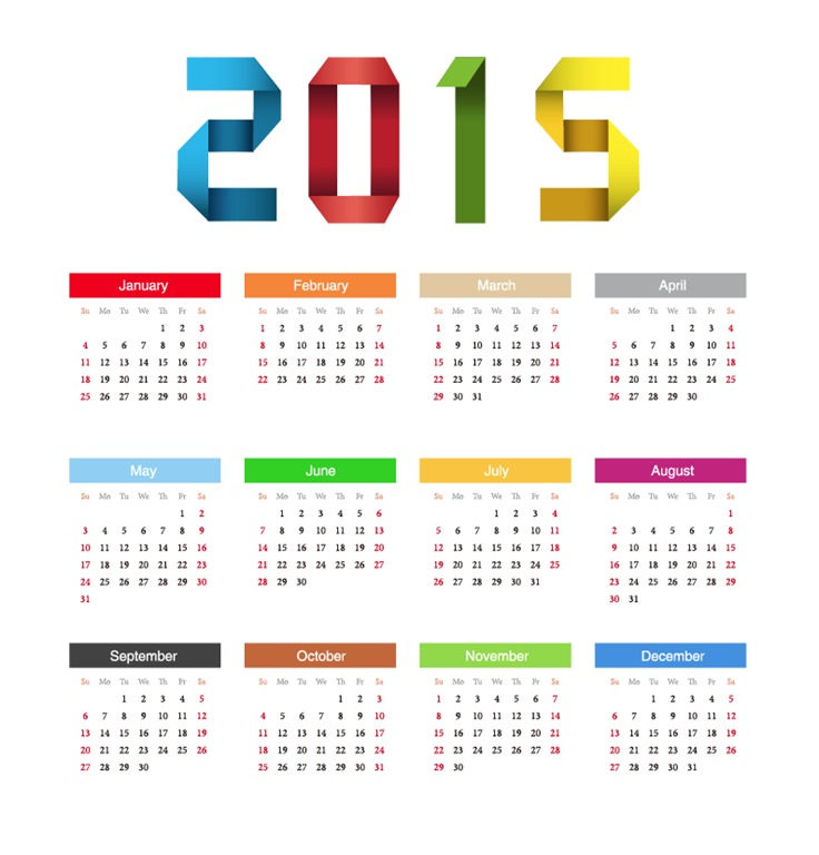 2015 Happy New Year Calendar Vector Free Vector Graphics All