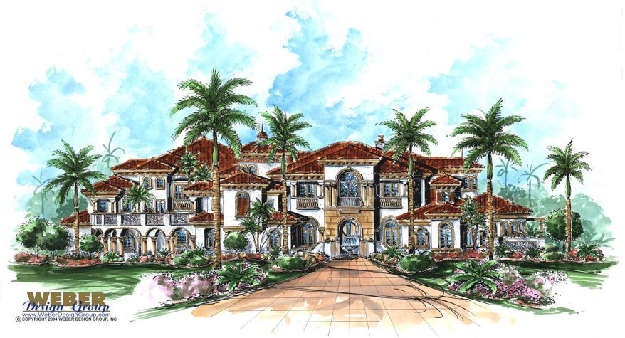 Mediterranean House Plan Italian Style Beach Mansion