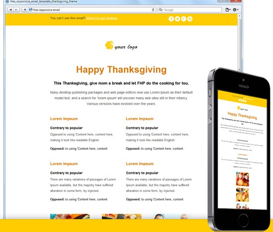 Free Responsive Email Template Thanksgiving Theme