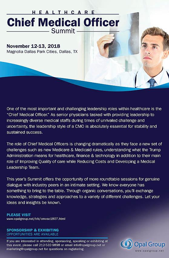 Chief Medical Officers Summit 2018 on November 12-13, 2018 at