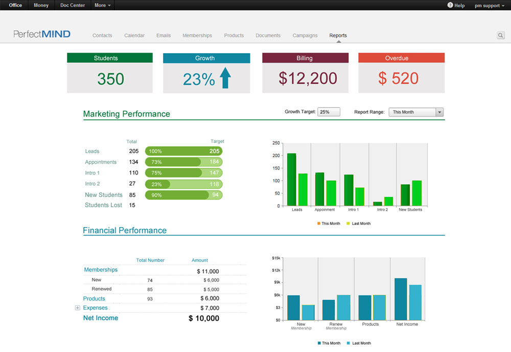 Marketing Goals data dashboard by PerfectMind Data Dashboards - business ledger example