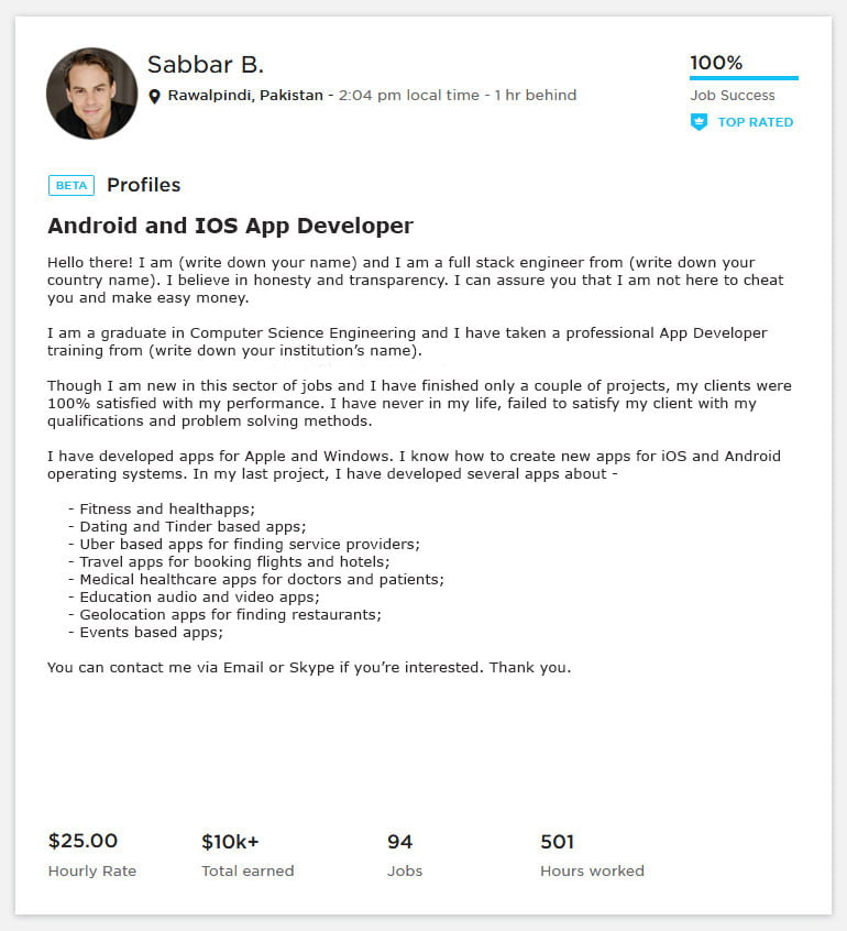 Upwork Profile Overview Sample for Mobile App/ Android / iOS