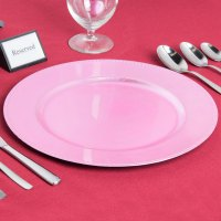 """The Jay Companies 13"""" Round Pink Beaded Melamine Charger Plate"""