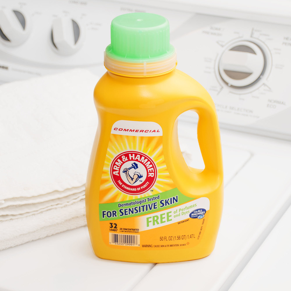 Arm hammer 50 oz 2x he perfume dye free liquid laundry detergent 8 case