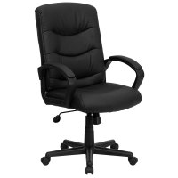 Mid-Back Black Leather Executive Office Chair with Padded ...
