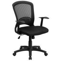 Mid-Back Black Mesh Office Chair with Arms and Padded Mesh ...