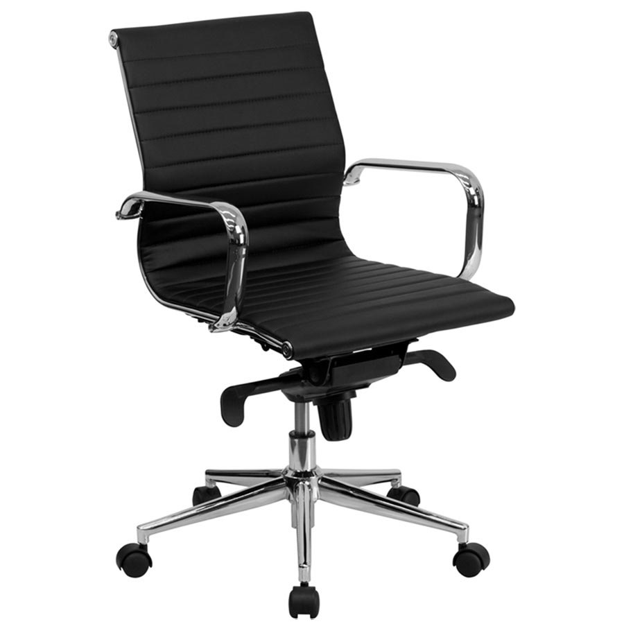 Mid Back Black Ribbed Leather Executive Swivel Office