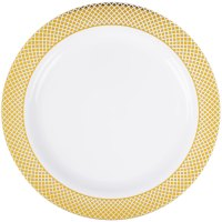 "Silver Visions 9"" White Plastic Plate with Gold Lattice ..."