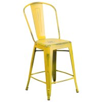 Flash Furniture ET-3534-24-YL-GG Distressed Yellow Metal ...