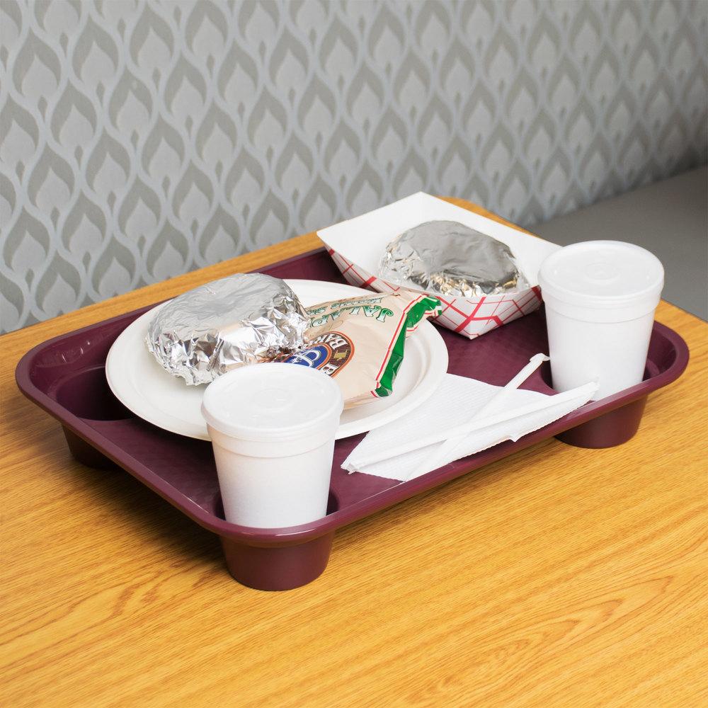 Get Ft 20 Bu 14quot X 17quot Burgundy Plastic Fast Food Tray