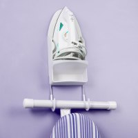 White Iron Caddy with Ironing Board Holder