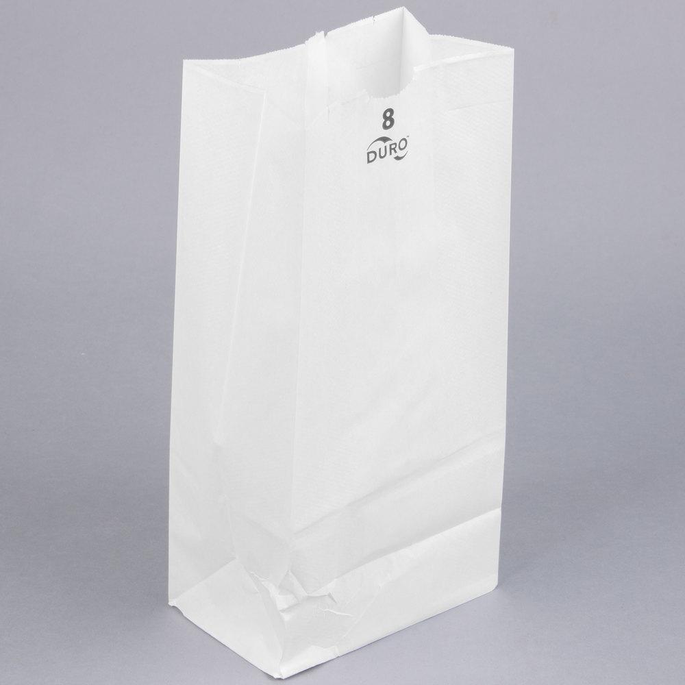 Duro 8 Lb White Paper Bag 500 Bundle