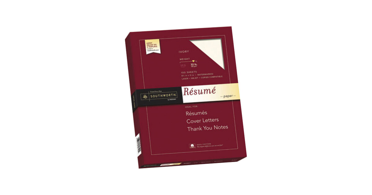 Southworth RD18IC 8 1/2\ - ivory resume paper