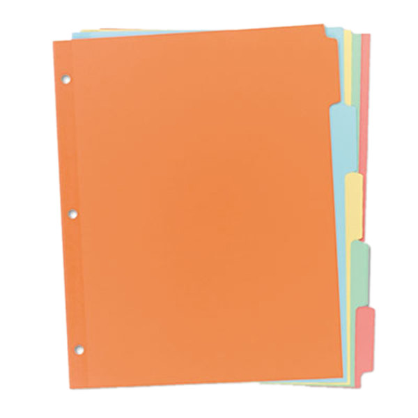 Avery 11508 Write-On 5-Tab Multi-Color Paper Divider Set - 36/Box - folder dividers tabs