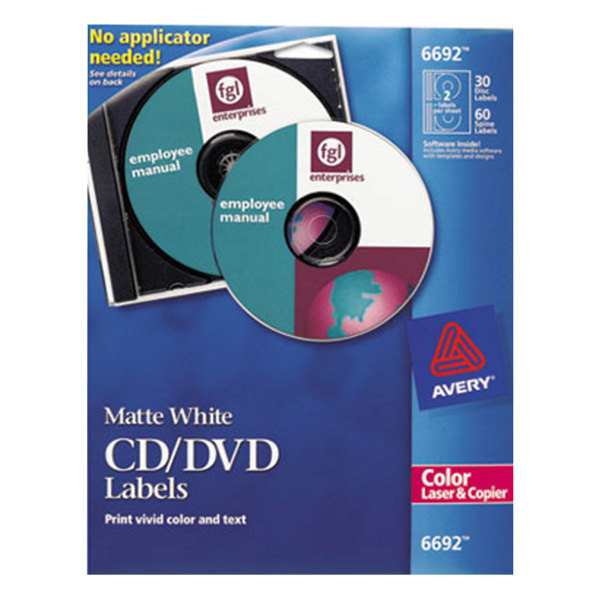 Avery 6692 Matte White CD Labels - 30/Pack