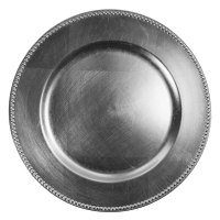 """The Jay Companies 13"""" Round Silver Beaded Melamine Charger ..."""