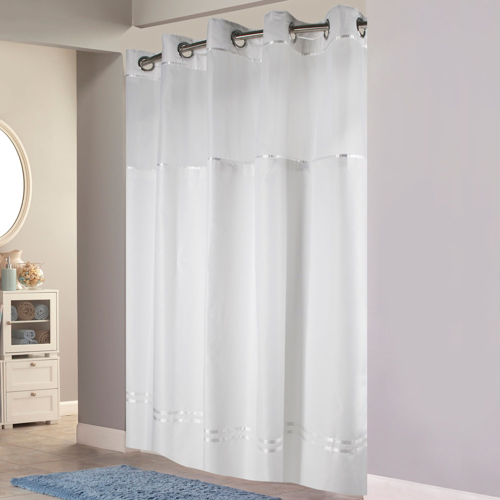 Brown Striped Shower Curtain - Brown and white striped shower curtain